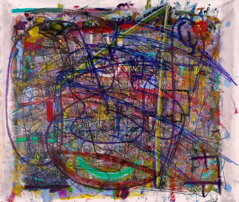 Številka 5. 2014. Akril na platnu, flomaster. 99,5 x 119,5 cm