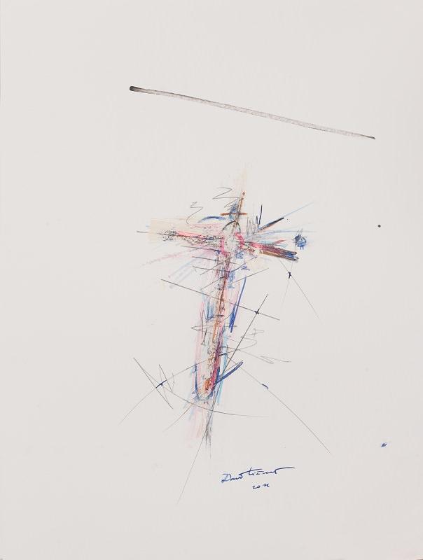 Brez naslova 6. 2014. Tinta, akril, barvice, svinčnik, oglje, flomaster. 40 x 30 cm